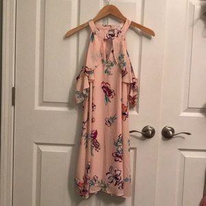 Pink floral cold shoulder dress